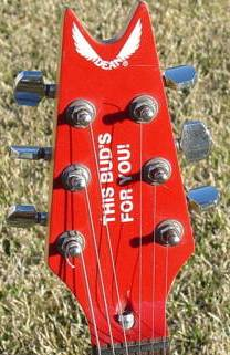 This Bud's for you guitar headstock