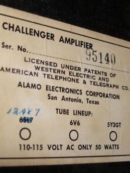 Challenger amplifier, Alamo Electronics Corporation San Antonion Texas