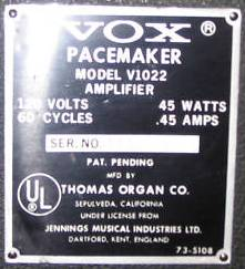Vox Pacemaker serial plate