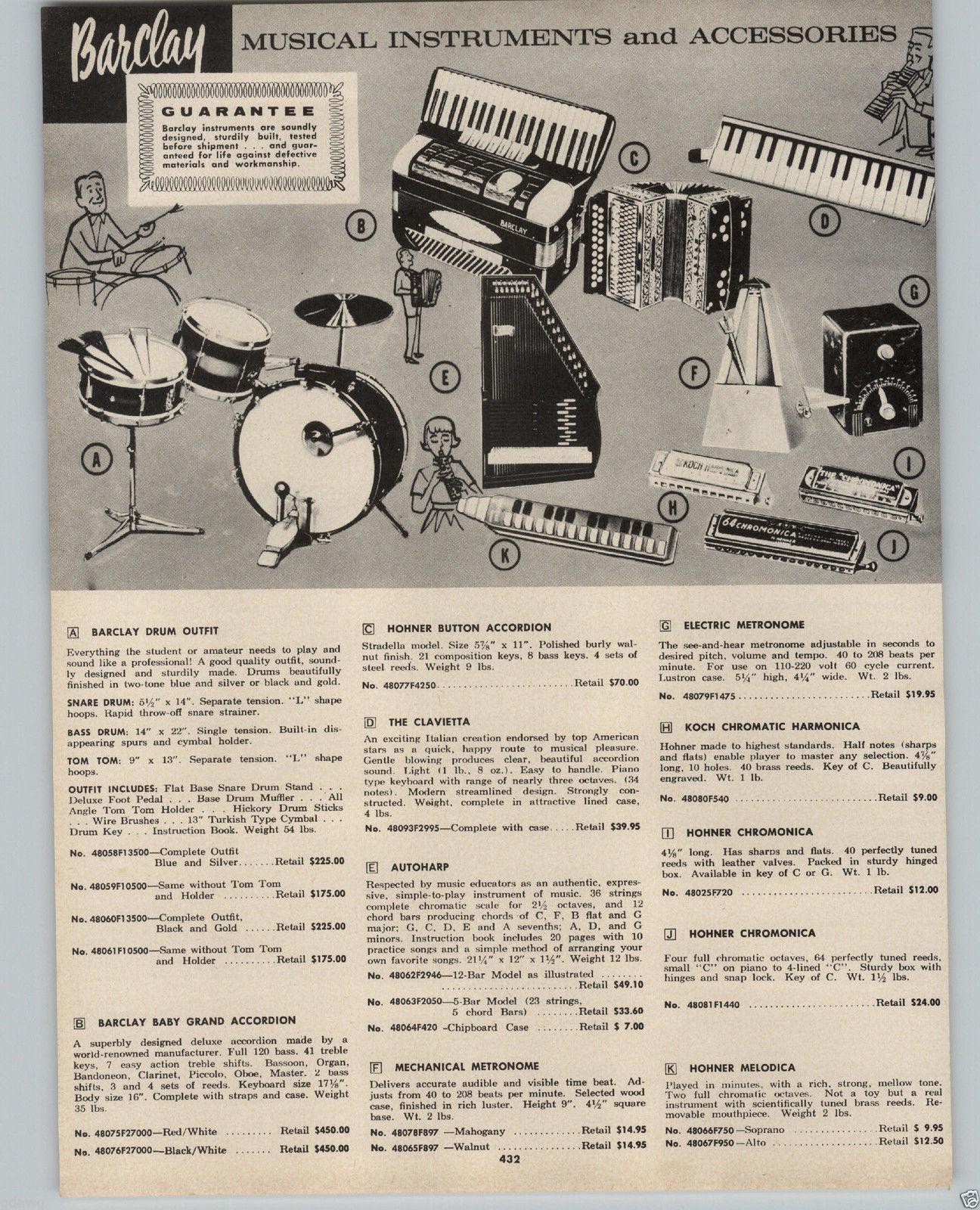 Barclay drums and baby grand accordion advertisement