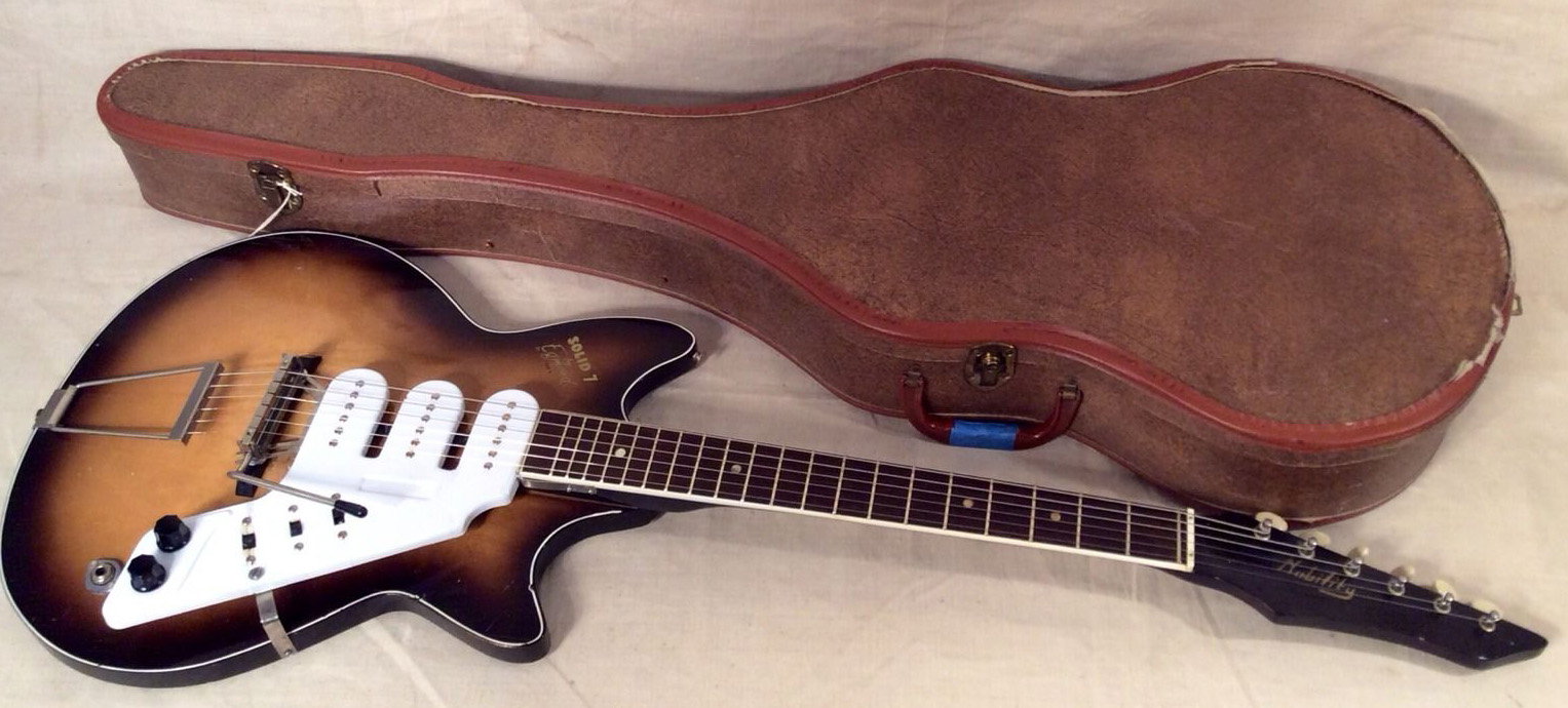 Egmond Solid 7 guitar and case from eBay