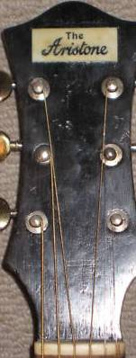The Aristone guitar headstock