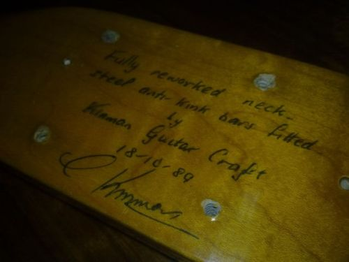 Kinman bass guitar neck signed and dated by Chris Kinman