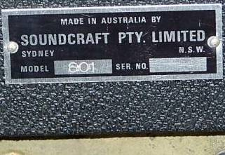 Soundcraft Vadis ampliier Model 601 label